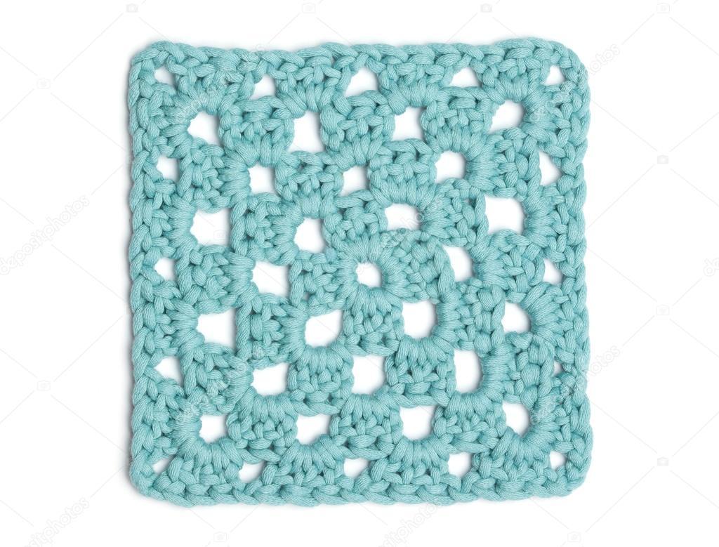 вязание крючком салфетка свет голубой квадрат бабушка стоковое