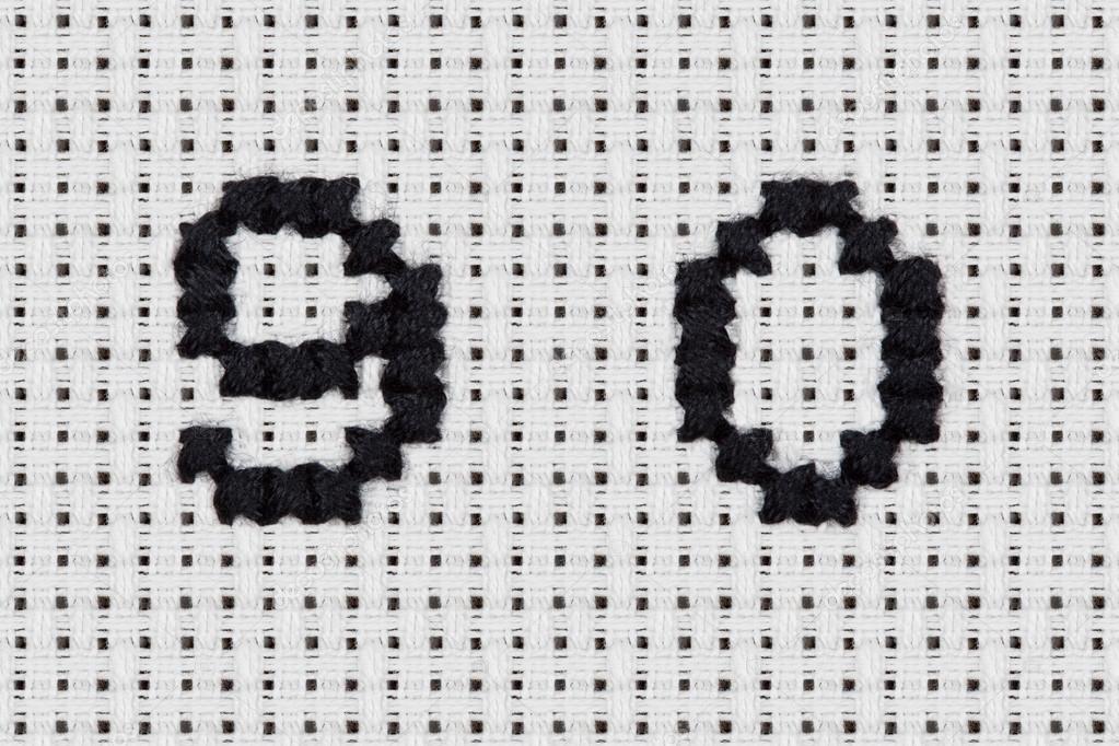 burbuja de punto de Cruz - alfabeto e iconos - discurso — Fotos de ...