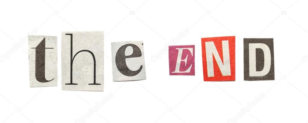 The end cutout newspaper letters stock photo michaeljayfoto the end cutout newspaper letters stock photo spiritdancerdesigns Choice Image