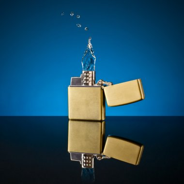 lighter and the flame out of the water