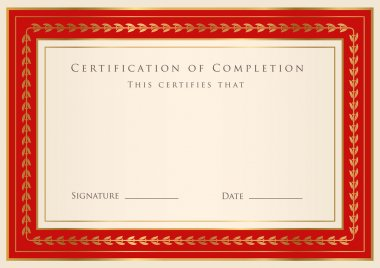 Horizontal red certificate of completion template with golden floral pattern and border. This design usable for diploma, invitation, gift voucher, coupon, official or different awards. Vector stock vector
