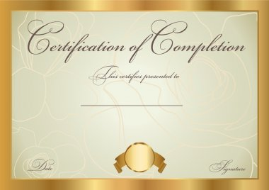 Horizontal certificate (diploma) of completion (template) with floral pattern (background) and border