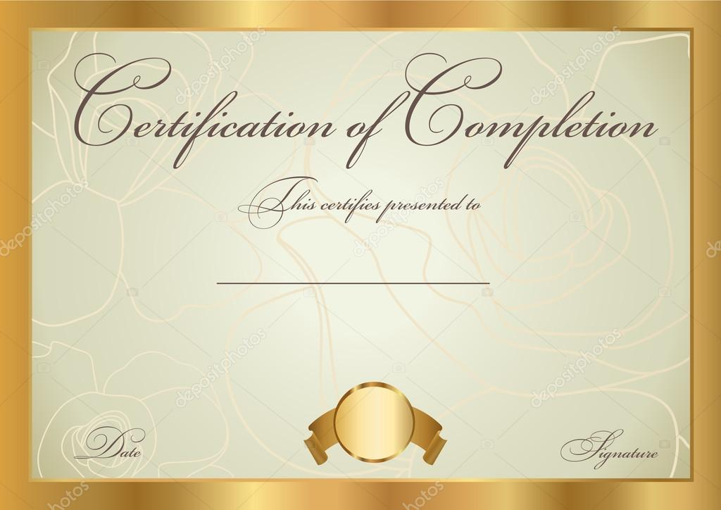 Horizontal Certificate Of Completion Template With Floral Pattern  (background) And Border. Usable For Diploma, Invitation, Gift Voucher,  Coupon, ...  Blank Achievement Certificates
