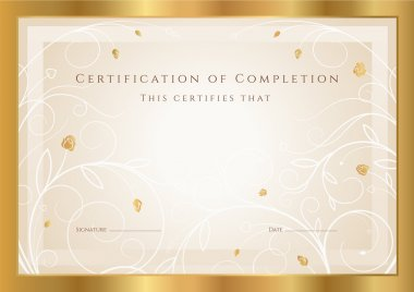 Horizontal gold certificate (diploma) of completion (template)