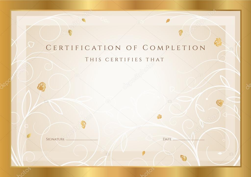 Horizontal gold certificate diploma of completion template horizontal gold certificate of completion template with floral pattern and border design usable for diploma invitation gift voucher coupon yelopaper Image collections
