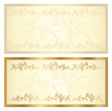 Voucher template with floral pattern and border. Background design usable for gift voucher, coupon, banknote, certificate, diploma, currency, check (cheque), ticket. Vector in golden, vintage colors