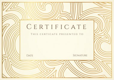 Horizontal gold certificate of completion ( template)