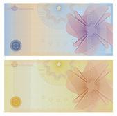 doklad šablona s gilošovaným vzorem (vodoznaky) a hranice. Toto pozadí návrhu pro dárkový poukaz na kupónu, bankovek, certifikát, lístek, diplom, měna, zkontrolujte vektor (šek) atd.