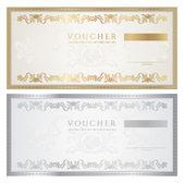 Doklad šablona s květinovým vzorem, vodoznak, hranice. Pozadí návrhu pro dárkový poukaz na kupónu, bankovek, certifikát, diplom, lístek, měna, kontrola (šek). Vektor v barvách zlatá, stříbrná