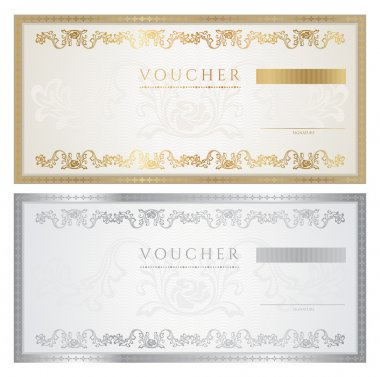 Voucher template with floral pattern, watermark, border. Background design for gift voucher, coupon, banknote, certificate, diploma, ticket, currency, check (cheque). Vector in golden, silver colors