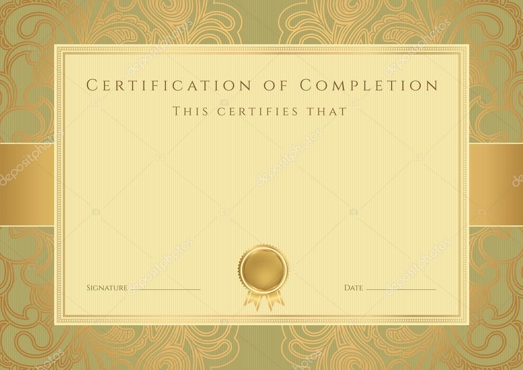 Horizontal Golden Certificate Of Completion Template Stockvektor
