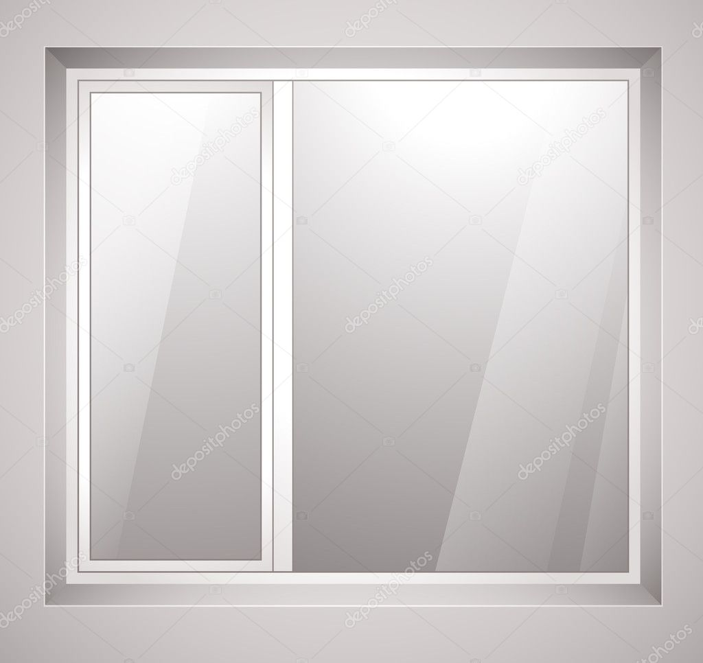 Plastic window with white frame. Vector