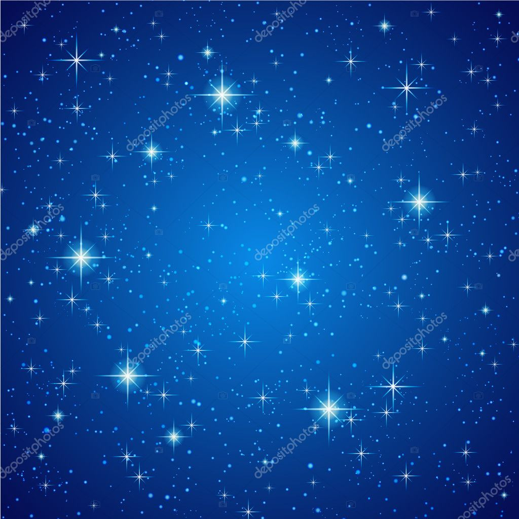 Blue Night sky with stars. Vector