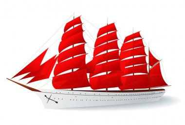 Isolated Ship with red sails (caravel)