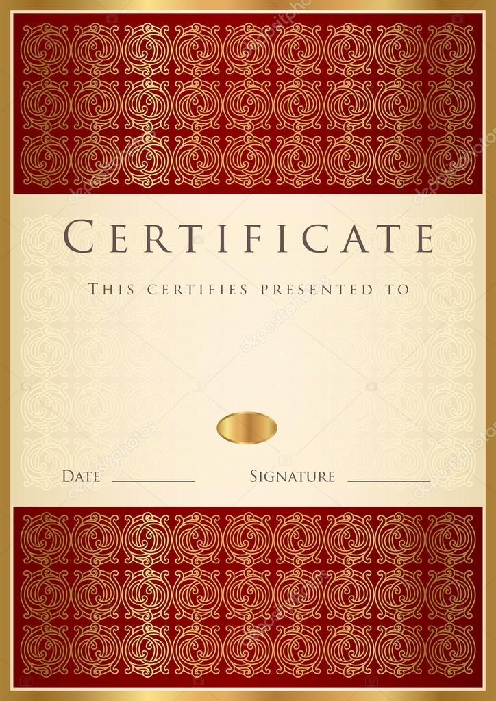 Vertical Red Certificate Of Completion Template Stock Vector