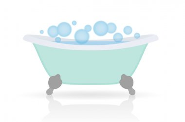Isolated Cartoon Bath with bubbles