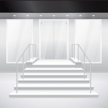 Entry to shop with stairs and windows