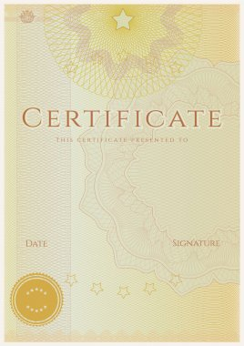 Certificate of completion (template). Guilloche pattern