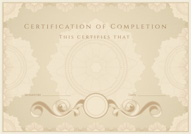 Certificate, Diploma of completion. Guilloche pattern