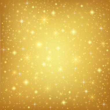 Abstract golden background with sparkling twinkling stars. Gold Cosmic atmosphere illustration stock vector