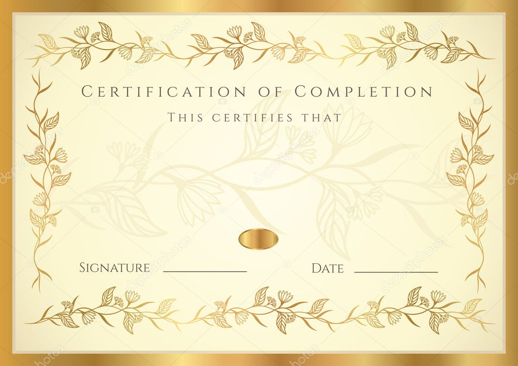 Horizontal certificate of completion template Vector – Template Certificate of Completion