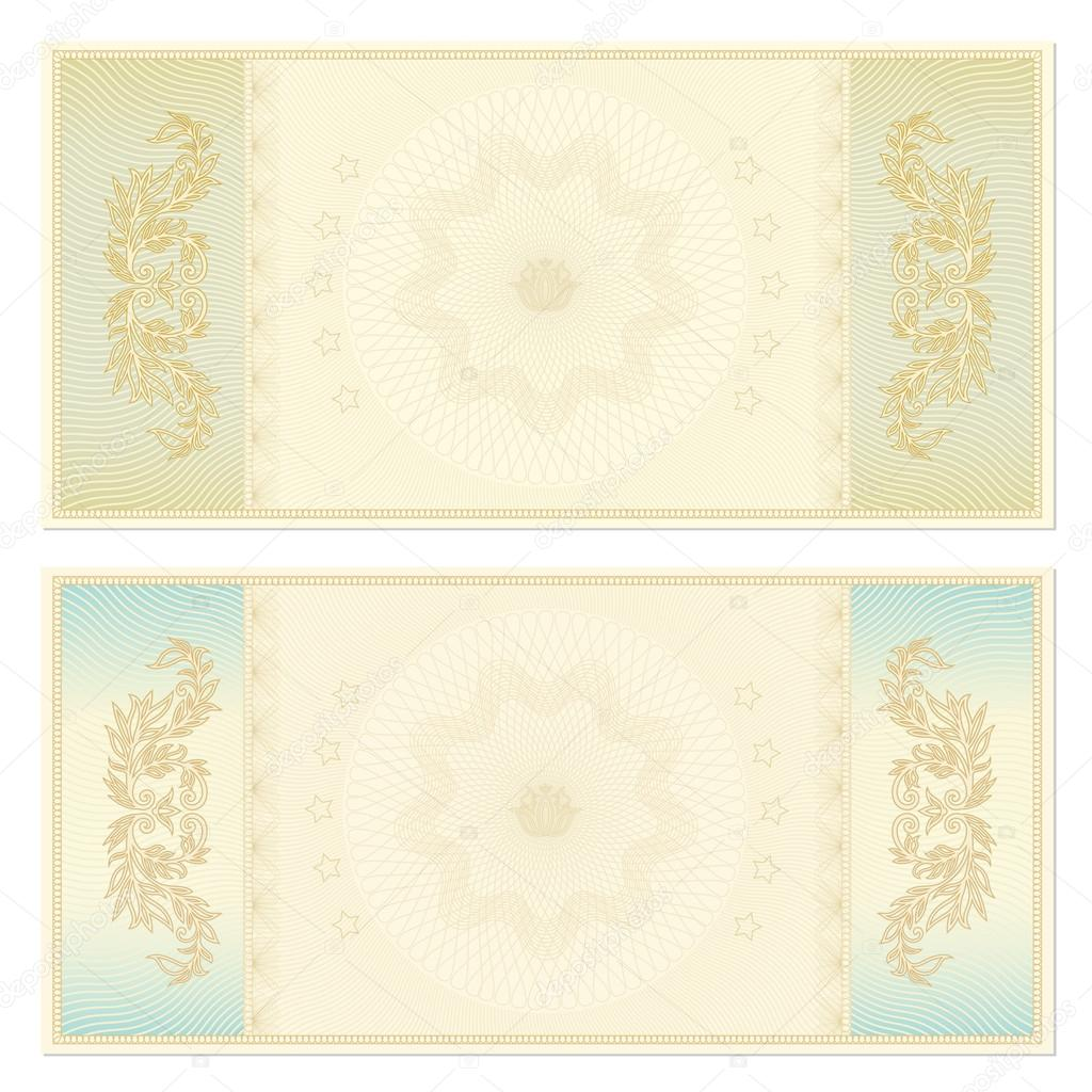 Voucher template with guilloche pattern watermarks This – Ticket Voucher Template