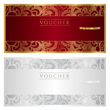 Golden voucher (coupon or certificate) template with florel pattern and border
