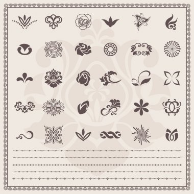 Vector set: Floral and ornamental symbols. Scroll Design elements (borders)