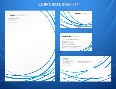 Business style template with blue abstract lines