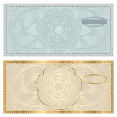 Voucher template with guilloche pattern (watermark), border . Background design for gift voucher, coupon, banknote, certificate, diploma, currency, check (cheque) etc. Vector in golden, blue colors