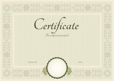 Horizontal green certificate (diploma) of completion (template)