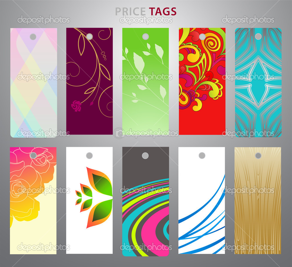 Colorful price tag with abstract and floral backgrounds ...
