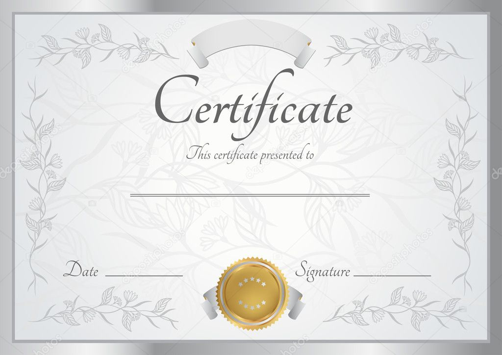Horizontal Silver Certificate Diploma Of Completion