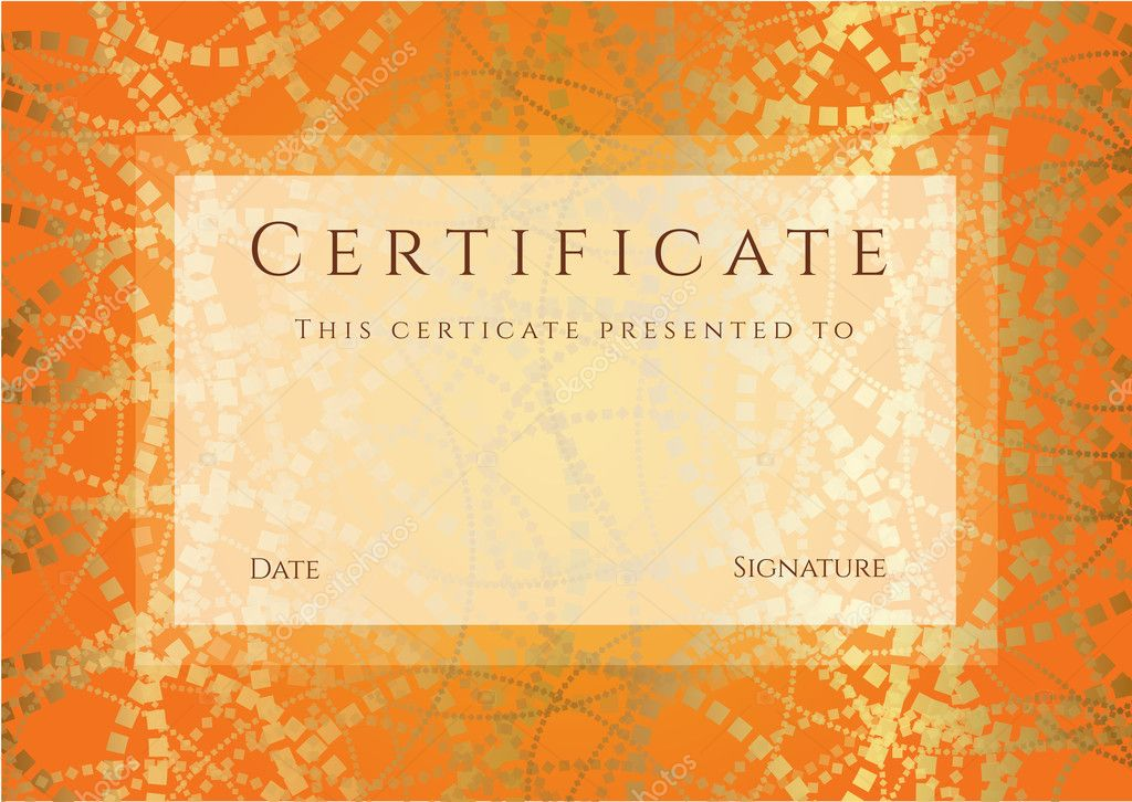 horizontal orange certificate  diploma  of completion
