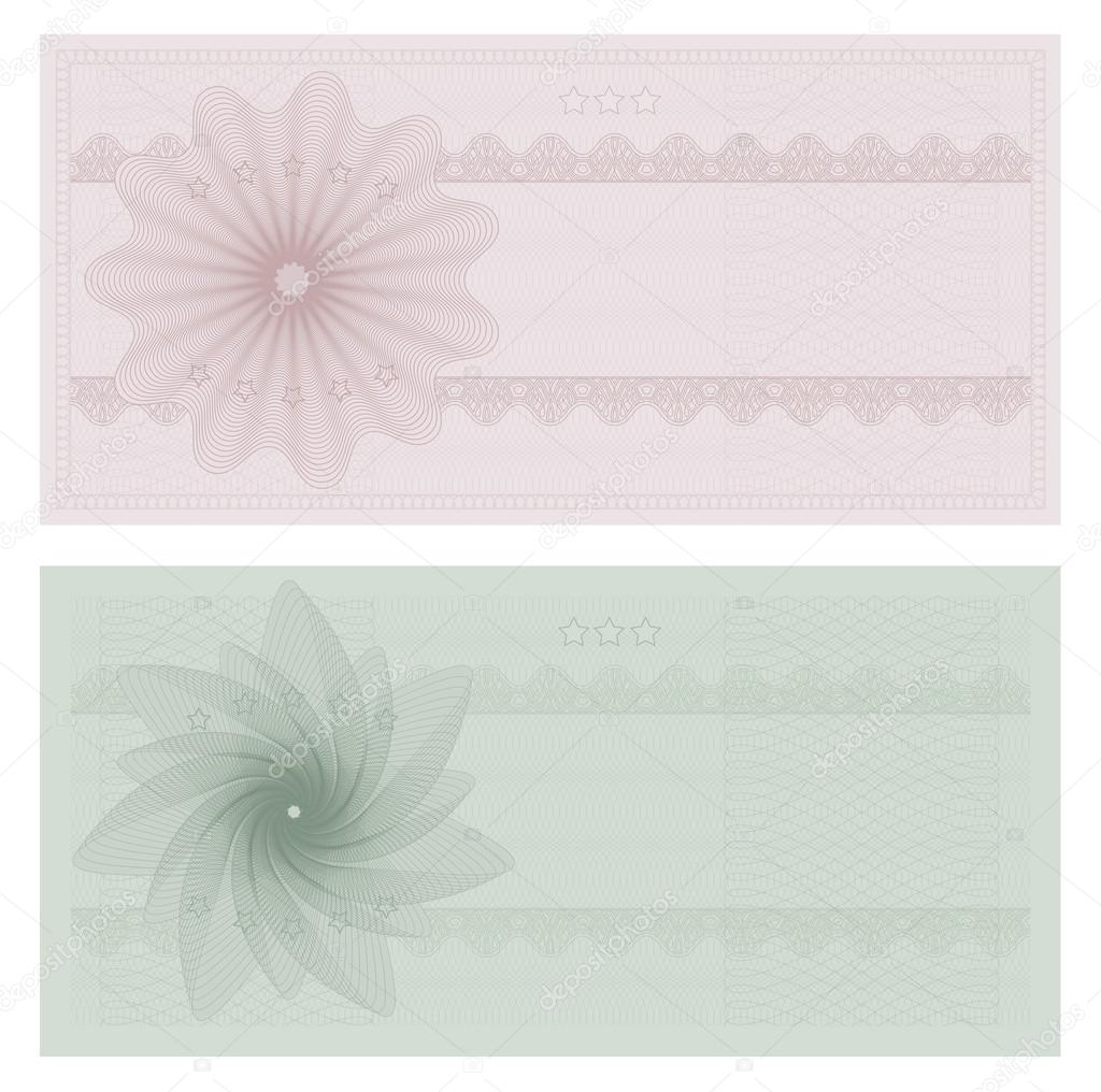 Voucher template with guilloche pattern watermarks and borders – Check Voucher Template