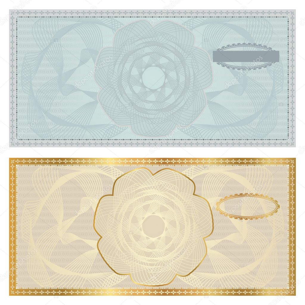 Voucher template with guilloche pattern watermark border – Money Voucher Template
