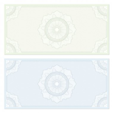 Voucher template with guilloche pattern (watermarks) and border. Background design for gift voucher, coupon, banknote, certificate, diploma, currency, check (cheque) etc. Vector in green, blue colors
