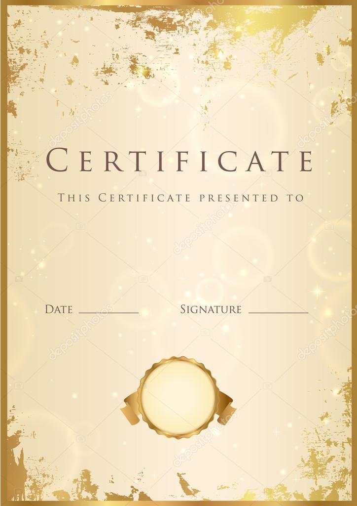 Vertical beige certificate (diploma) of completion ...