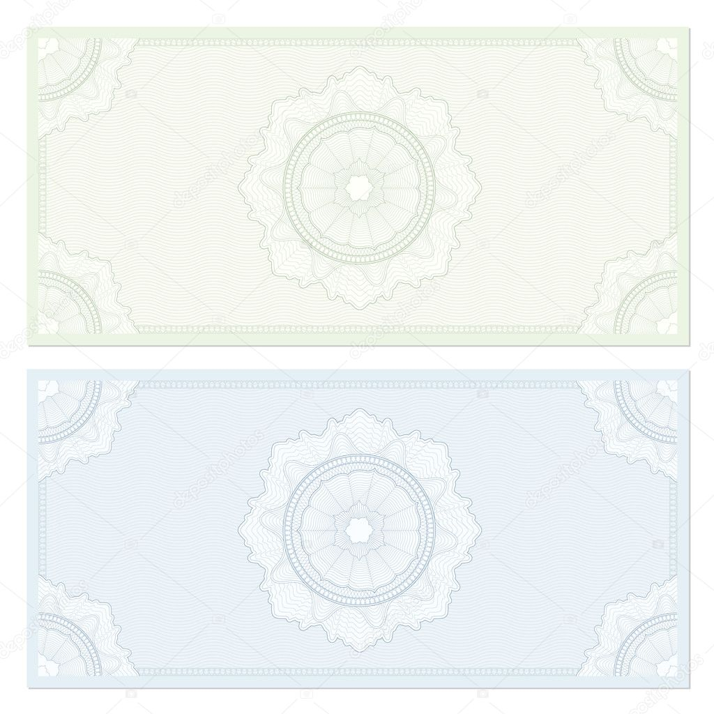 voucher template with guilloche pattern watermarks and