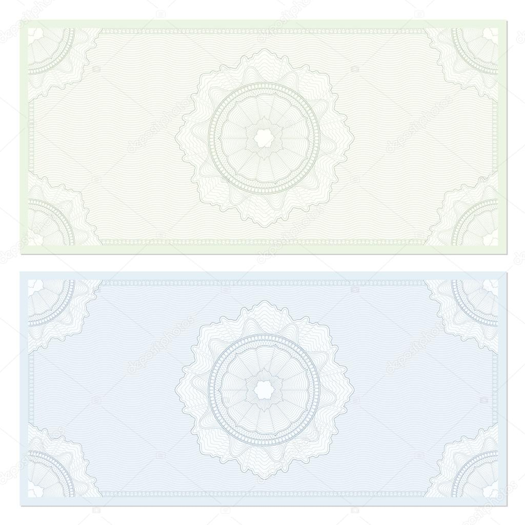 Voucher template with guilloche pattern watermarks and border – Check Voucher Template