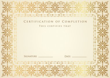 Horizontal certificate (diploma) of completion (template) with golden floral pattern and frame