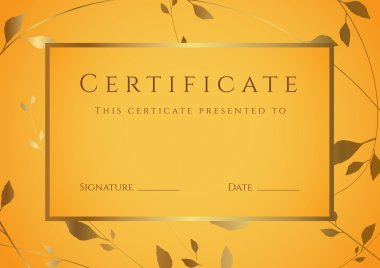 Horizontal orange certificate (diploma) of completion (template) with golden floral pattern and frame