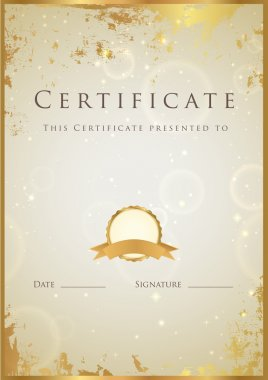 Vertical beige certificate (diploma) of completion (template) with golden grunge border