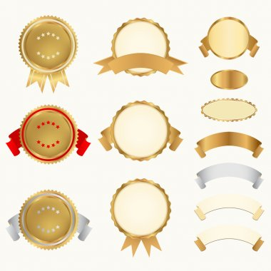 Vector set: Golden and silver Awards with ribbons (icons)