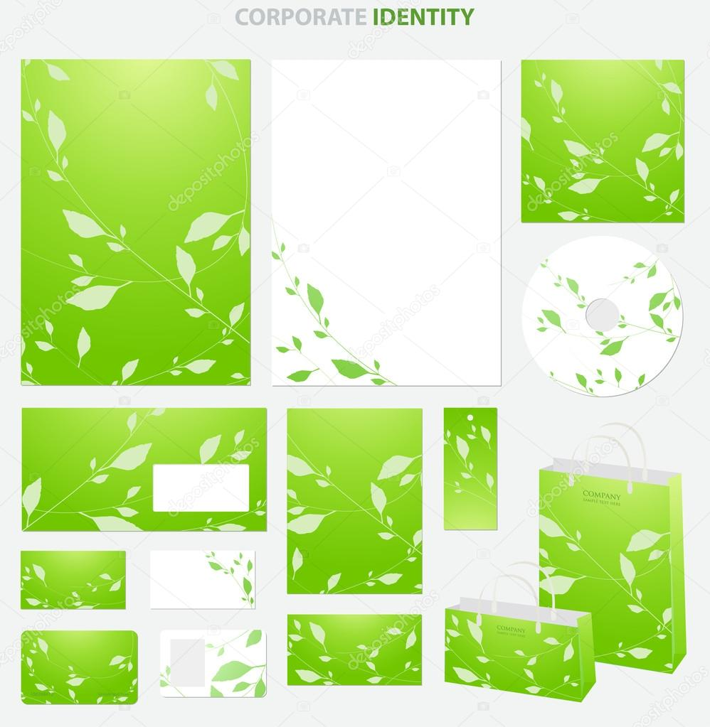green business style template with floral pattern leaves