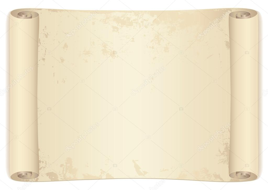 Scroll Old Treasure Map Isolated Vector Illustration On White Background Stock