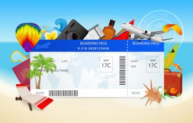 Travel by plane (airplane, aircraft). Conceptual flight vector design of boarding pass (ticket, traveler check). Summer vacation concept with sea (seascape), ocean, send (flight idea). Beach holidays