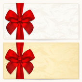 Fotografie Gift Voucher (coupon, invitation or card) template with floral pattern, border and Gift red bow (ribbons)