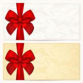 Dárkový poukaz (kupón, pozvánky nebo karta) šablona s květinovým vzorem, na hranicích a dárek červenou mašli (stuhy)