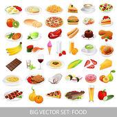 velký vektoru set: izolované potravin ikony (lahodné pokrmy). zdravé jídlo, nezdravé jídlo, mořské plody, rychlé občerstvení, nápoje